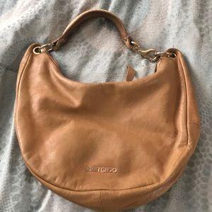 Jimmy choo camel shoulder bag with gold hardware